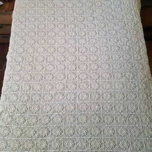Handmade Bedding - Handmade Boho Fringed Ivory Crochet Coverlet